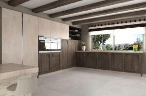 Cocina con puertas de alta presión texturadas